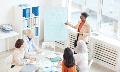 African-American Woman Giving Presentation at Business Meeting